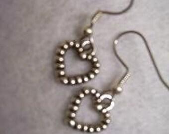 Dangle Silver Outline Heart Earrings