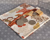 Square Zip Pouch for Stitch Markers and Needles, in tan with brown and orange butterflies