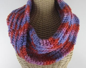 Hand Knit Merino Wool Cowl - Hand Dyed Chunky Yarn- Pink Orange Purple Silver  - Chunky Yarn ~ Warm Scarf