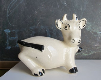 Vintage Ceramic Cow Figurine Bank, Made in Japan