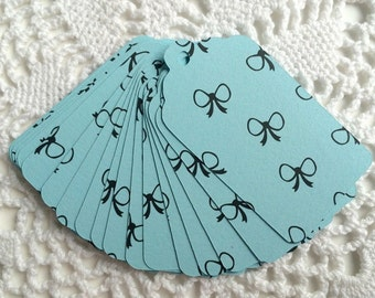 Bow Print Paper Tags, Bow Pattern Gift Tags, Light Blue Baby Shower Favor Tags - Set of 20
