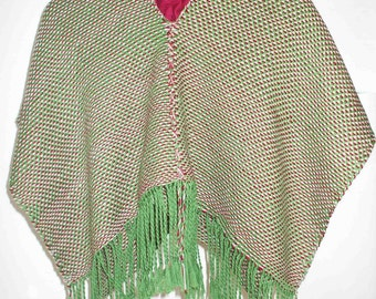 30% DISCOUNT/Handwoven Poncho for Children Green - Bordot - Cream  - Wool - Cotton - Poncho with Fringe - Autumn - Winter - Soft - Accessory