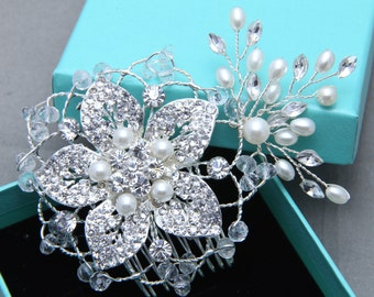 Bridal Hair Comb, Wedding Hair Comb, Large Flower Hair Comb, Vintage Style SWAROVSKI Pearl Flower Rhinestone crystals Wedding Hair Accessory
