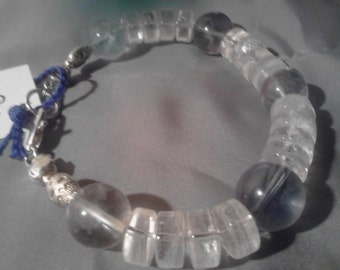 Quartz Heishi and Fluorite Sphere Crystal Bead with Silver Bracelet