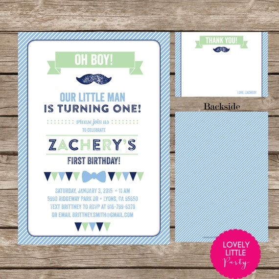 DIY Printable Little Man Mustache Birthday Invitation Kit - Invite AND Thank You Card included
