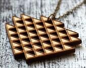 "necklace ""triad"" wooden pendant"