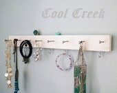 "19"" Necklace Hanger Jewelry Organizer Dorm Organizer..Choose Your Color & Finish..Closet, Bath, Kitchen Storage"