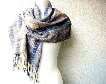 Handwoven Scarf /  Wrap, Unique Scarf, Silk, Chenille, Cotton,Hand dyed, Lightweight  Summer Warp