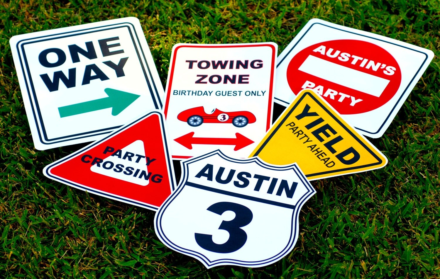 Classic Car Signs : Vintage race car party signs personalized set of