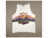 1992 RENO NEVADA Desert Scape Southwestern Muscle tee White Vintage Tourist Tshirt Tee T Shirt Top // Mens Large