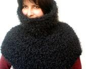 Black Fluffy Capelet Fashion Big Shoulder Warmer Cowl Woman Fall Winter Cape NEW