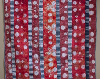 Red and Grey Shibori Quilt