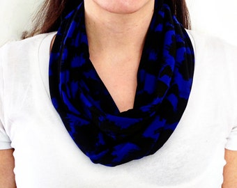 Dark Blue and Black Abstract Pattern Infinity Scarf