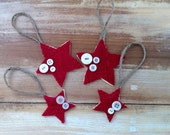 Set of 4 - Wooden Red Burlap Vintage Button Stars -Christmas Ornament/Gift Tag Accessory-Rustic/Country/Folk