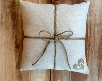 Natural Cotton Ring Bearer Pillow With Jute Twine and Heart- Personalize With Initials- 3 Sizes -Wedding/Ceremony-Natural/Minimalist