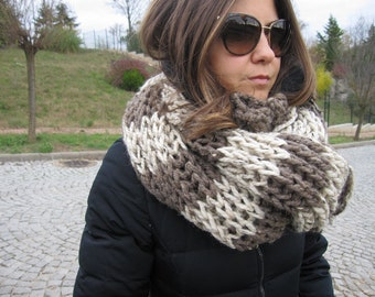 fisherman's rib Knit scarf- taupe oatmeal beige stripe knit scarf,snood-infinity  knit cOWL -men's knitted scarves-winter -man fashion