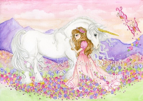 "Unicorn and princess fantasy Painting, girls room decor, princess decor, unicorn art  ""The Princess and the Unicorn"" archival fine art print"