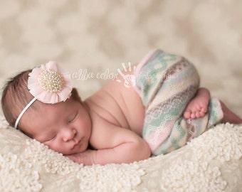 Pink Headband, Newborn Headband, Pearl Headband- Pink Chiffon Pearl Baby Girl Headband Spring Photography Prop