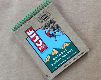 CLIF BARS oatmeal raisin walnut packaging recycled spiral bound journal notebook