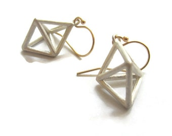 Small Geometric  Earrings  Pyramid  Cage Earring Drops, Triangle Dangle Himmeli Jewlery   Artisan Handmade  by Sheri Beryl