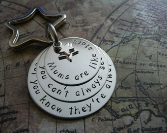 Mums are like stars, Hand stamped metal keychain, stacked discs, personalise
