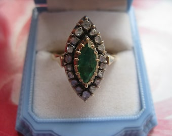 Antique Emerald & Rose Cut Diamond Ring.  14K Emerald Ring, Statement Ring, Antique Ring, Natural Emerald, Antique Diamond, Estate Jewelry