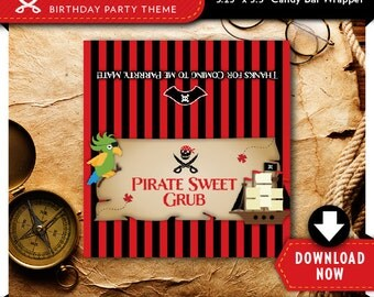 Pirate Sweet Grub Red Candy Bar Wrapper Label   Printable Chocolate Candy Wrappers   Boy Birthday Party Favor   Instant Download