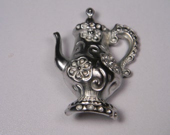 Silver Tone Floral Detail Teapot Brooch or Pin, Vintage Figural