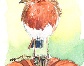 ACEO Limited Edition - Pumpkin and robin