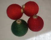 Red and Green Yarn Wrapped Ornaments
