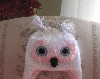 Crocheted Baby Owl hat~ White, Pink, Gray,