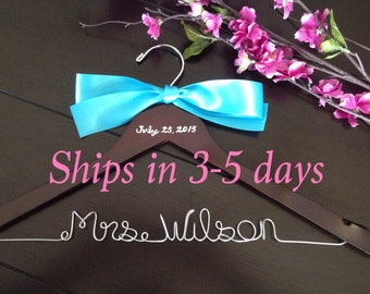 3 DAYS SALE--Rush order, Custom wire hanger, wedding hanger, name hanger, bridal hanger, wire hanger, personalized hanger