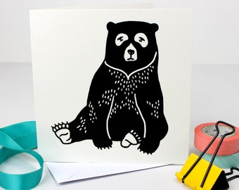 Black Bear Greetings Card