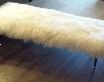 Mongolian Lamb Fur Bench Mid century Modern  Sheepskin