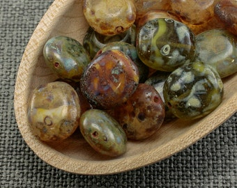Rustic beads, Nature look glass, Czech Picasso stone 14mm (10) Rounded Rectangle
