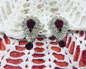 Vintage Rhinestone Clip Earrings - V-EAR-591 - Red Rhinestone Earrings - Over 24 Clear Rhinestones