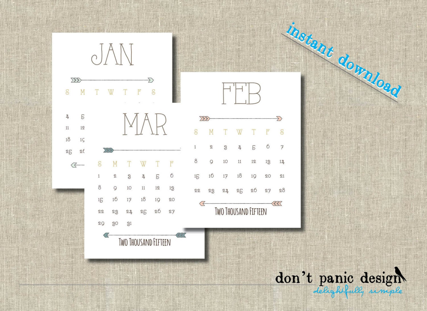 2015 2016 Printable Desk Calendar Cute Arrow by