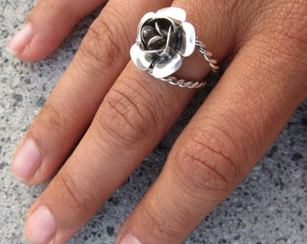 Open Rose On a Vine Ring - Sterling Silver - sizes 5.25 - 8.5 - Miski Metal