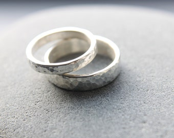 Hammered Wedding Ring Set In Argentium Silver, 5mm Men's Wedding Band & 3mm Women's Wedding Ring, Made To Order