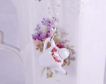 Sterling silver necklace, delicate pink miniature porcelain tea pot necklace, delicate porcelain jewelry, pink flowers