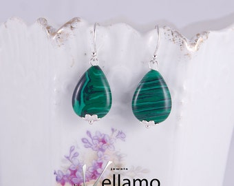 Small green malachite sterling silver earrings with beautiful green striped malachite stones, sterling silver or gold plated dainty earrings