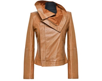 Cognac Zip Up Collar Nappa Leather Jacket