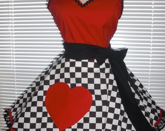 Sexy Costume Apron Retro Extra Full Circular Skirt Queen of Sweet Hearts Apron