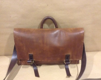 Messenger Leather Bag,Classic Handmade Leather Brown Satchel Bag,Leather Handcrafted Briefcase
