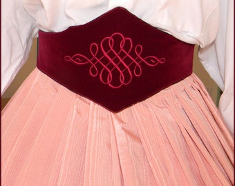 1800's Civil War Victorian Medici Belt Embroidered Burgundy Taffeta Velvet
