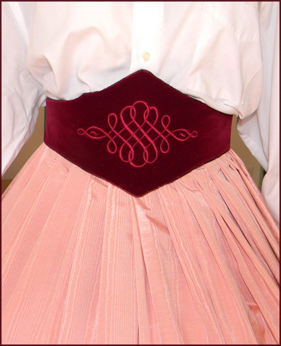 Victorian Skirts | Bustle, Walking, Edwardian Skirts Medici Belt Embroidered Burgundy Taffeta Velvet $79.00 AT vintagedancer.com