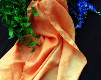"Tibetan Orange Silk Tarot Cloth - Altar Cloth - Hand Dyed 30""x30""...100% Silk"