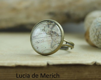 Vintage map ring - old map ring - adjustable ring - coupon code -Black friday - Cyber monday
