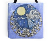 Angel Tote Bag Full Moon Tote Bag Blue Tote Bag Shoulder Bag Large Handbag Shopping Bag Book Bag Angel Lovers Gift Christmas Gift for Her