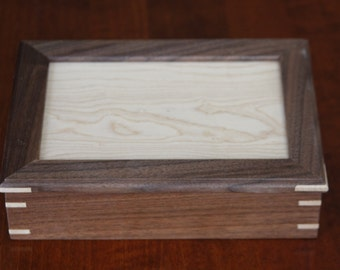 Handmade Wooden Decorative Box holding two decks of Playing Cards - Free Shipping to USA